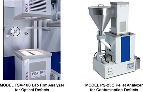 Model FSA-100 Lab Film Analyzer for Optical Defects and Model PS-25C Pellet Analyzer for Contamination Defects
